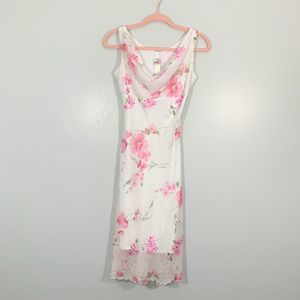 Vintage Early 90's White Pink Floral Midi Dress